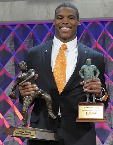 Cam Newton, quarterback for the Carolina Panthers, wearing a Hart Schaffner Marx suit.