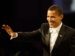 President Obama in a Hart Schaffner Marx tuxedo for his 2009 inauguration.