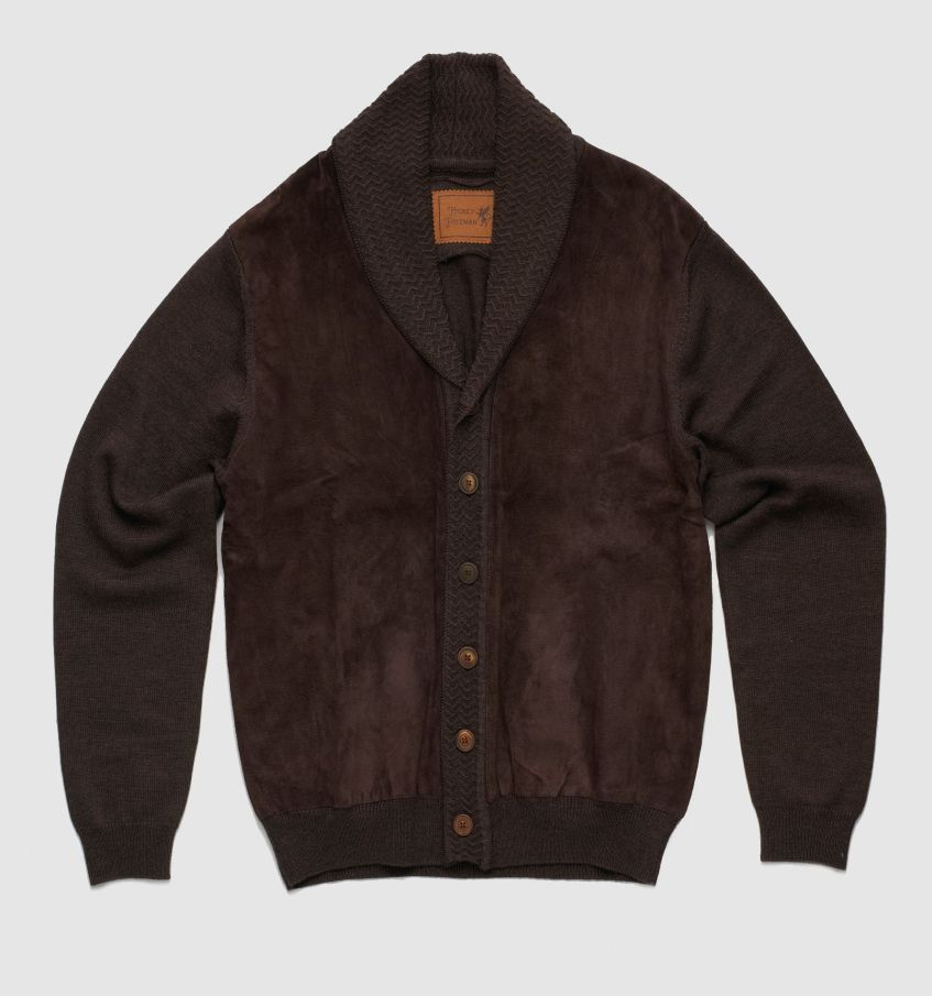 suede panel sweater
