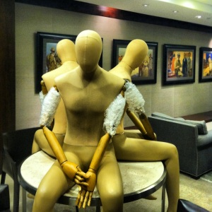These naked mannequins will soon be clothed in the Hart Schaffner Marx Fall 2013 collection.