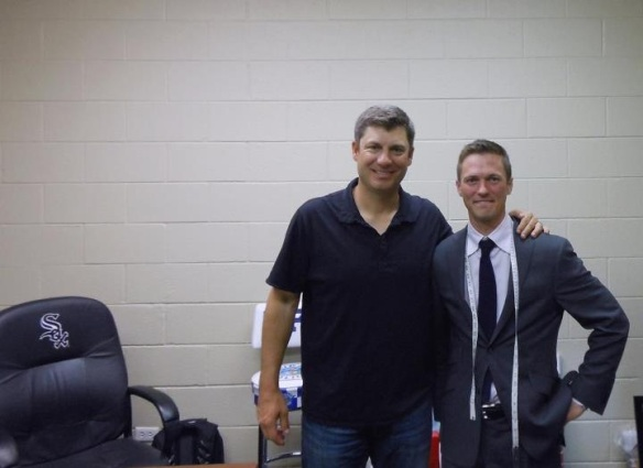 Rob Ventura, manager of the Chicago White Sox, and Jeffery doing a team fitting for their Hart Schaffner Marx suits.